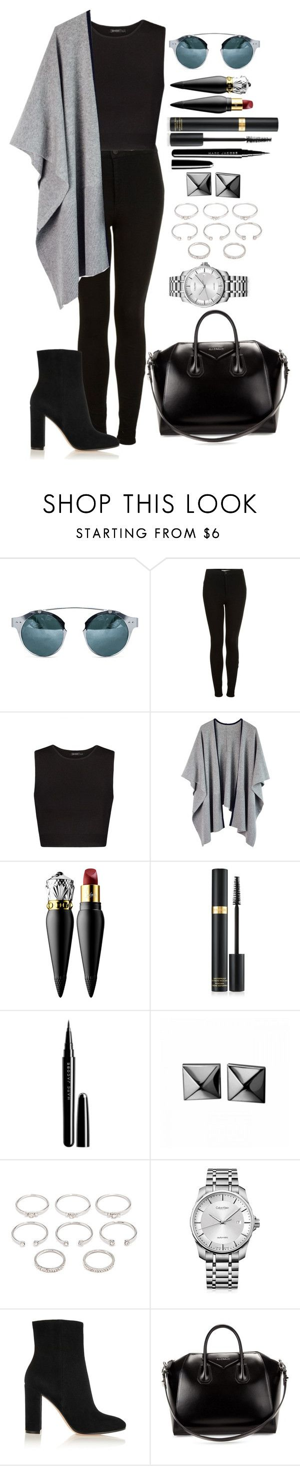 """""""Untitled #1279"""" by fabianarveloc on Polyvore featuring Topshop, MANGO, Christian Louboutin, Marc Jacobs, Waterford, Forever 21, Calvin Klein, Gianvito Rossi and Givenchy"""