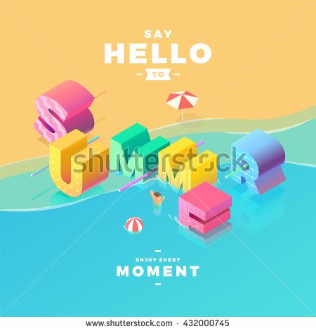say hello to summer sign in sea, isometric illustration
