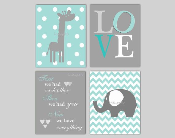 Elephant Nursery Wall Art -  Giraffe Nursery Wall Art -  First We Had Each Other Quote - Choose Colors - 4 8 x 10 Prints