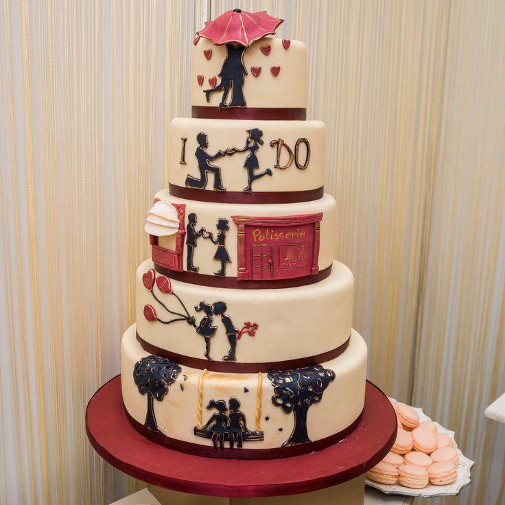 Povestea voastra de dragoste poate fi transpusa pe tortul de nunta, personalizat cu siluete pe care le puteti personaliza asa cum va doriti.  Pret: 560 lei (la 3,5 kg).