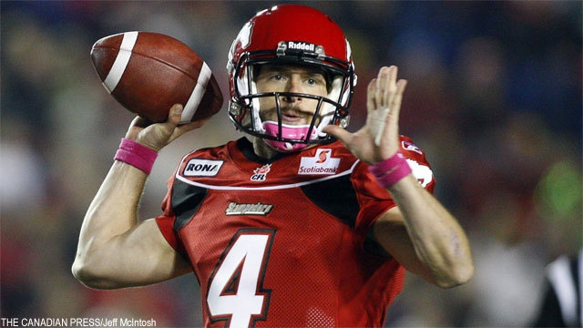 Drew Tate, starting QB for the Calgary Stampeders. 2012