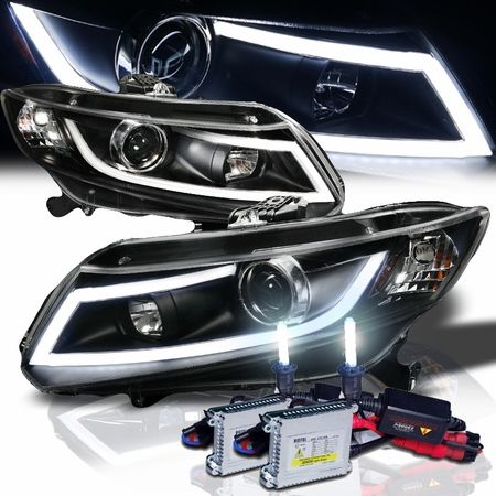 HID Xenon Honda Civic LED Projector Headlights - Matte Black