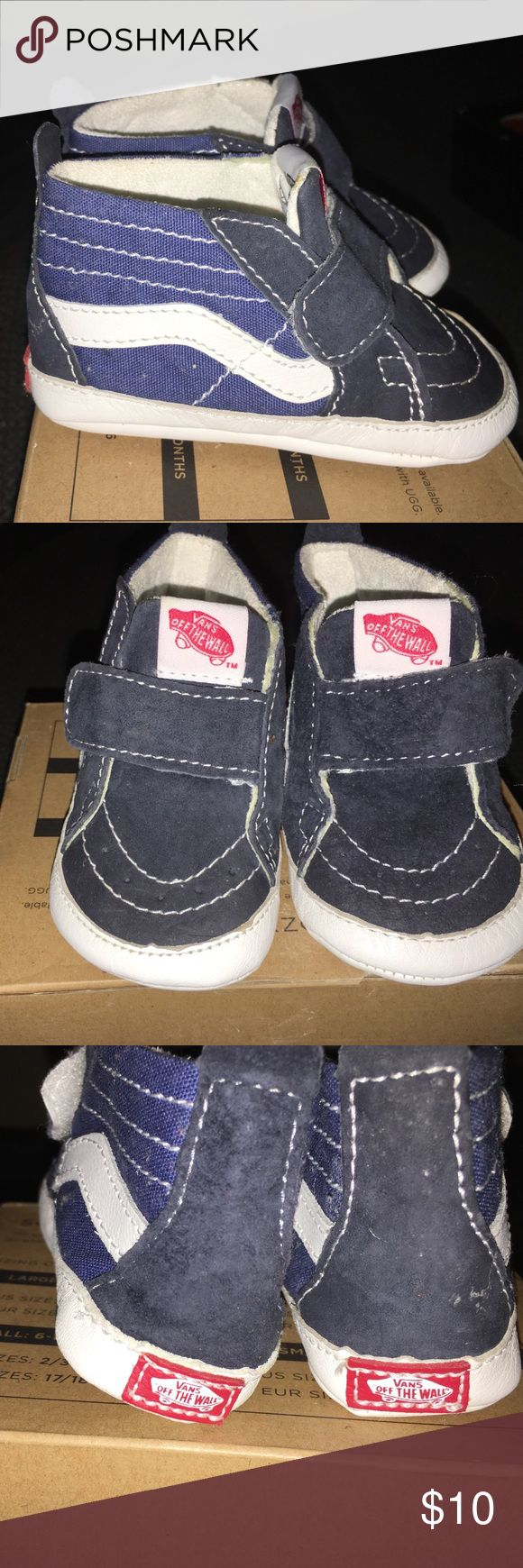 Soft bottom Vans Sneakers These skateboard Vans for baby boy are too cute. Blue and white with Velcro Strap for easy access. Soft bottom. Worn once! Vans Shoes Sneakers