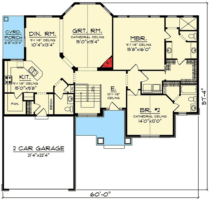 Plan 890015AH: Two Bedroom Craftsman House Plan (With