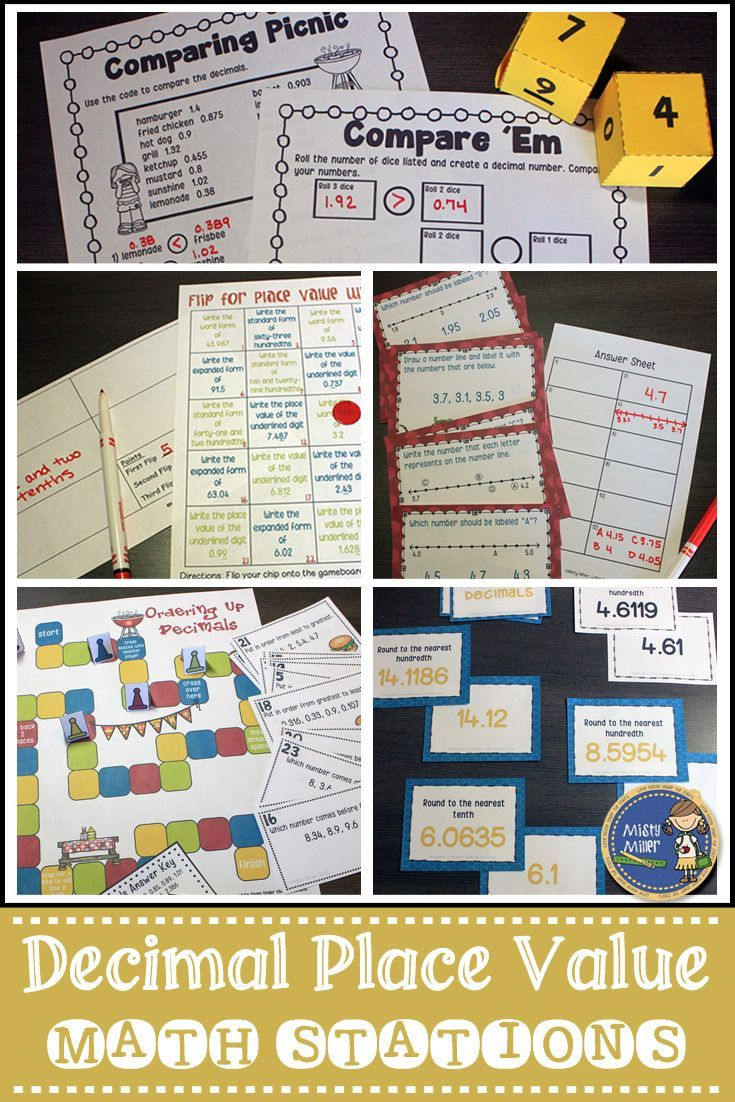 Place Value with Decimals Stations will give your students an opportunity to practice comparing, ordering and rounding decimals, identifying decimals on number lines, and working with place values with decimals. This station pack includes 5 activities relating to the concept of place value with decimals. Have your students engaged with hands-on math! $ gr 5-7