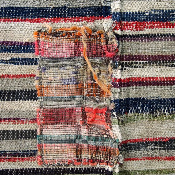Old Japanese Handmade Patched Cotton Sakiori Rag Weave Textile, Nicely Faded Fragment.....E-Sakiori-414