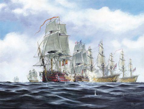 Batalla de Trafalgar. en primer termino el Santísima Trinidad. 140 cañones 1.160 hombres.