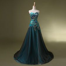 New Long Prom  Peacock Masquerade Party Dress Costume Ball Gowns Vintage  Custom