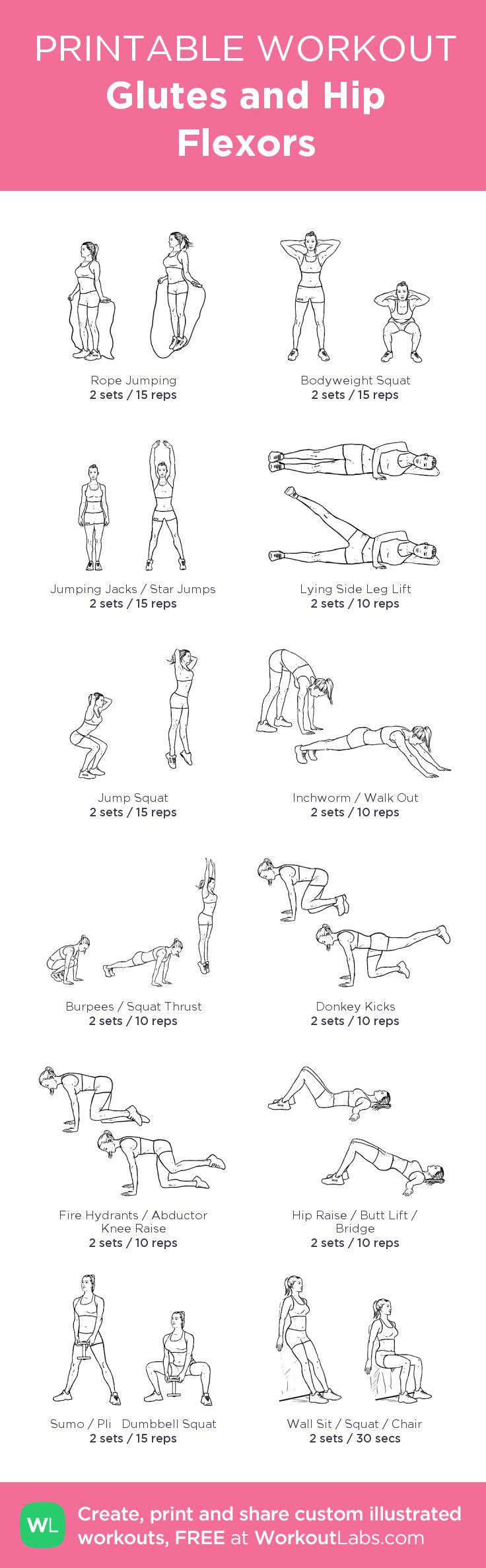 Glutes and Hip Flexors: my visual workout created at WorkoutLabs.com • Click through to customize and download as a FREE PDF! #customworkout