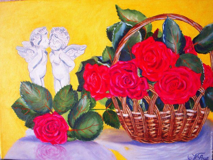 """Купить """"День влюбленных"""" работа Ларисы Григ - желтый, розы, валентинка, картина в подарок"""