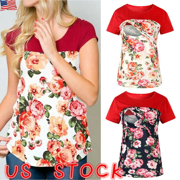 (eBay Ad) Women Pregnant Summer Floral T Shirt Maternity Short Sleeve Loose Tops… – Sweaters, Mixed Items, Lots and Maternity. Women's Clothing
