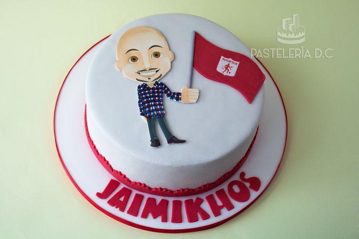 Torta personalizada para un hincha de América de Cali / Custom America's supporter cake (colombian football team).