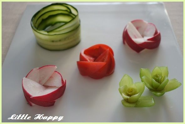 おはようございます♪本日は私がよくする野菜の飾り切りならぬ、飾り盛りのご紹介♪ブログを初めてから、盛りつけにはかなり気を使うようになりました(笑)我が家の...