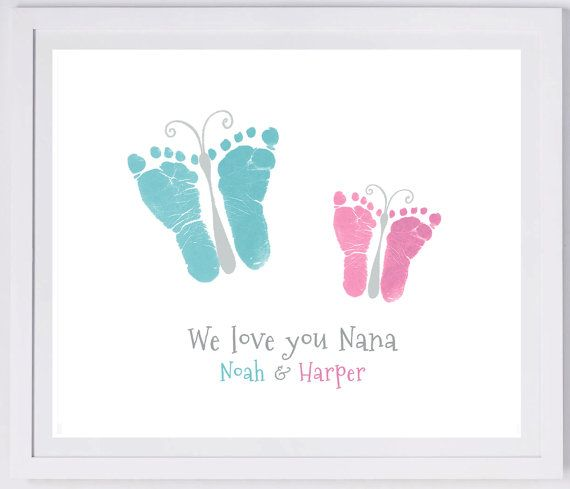2 butterfly footprints your child's actual by MyForeverPrints, $30.00