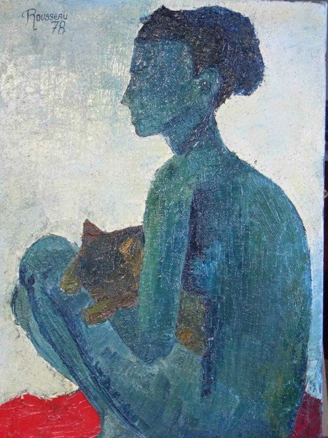 "Silhouette of a naked woman with cat. Nude oil on canvas. Signed ""Rousseau"" and dated ""78"". In very good condition.  Dimensions 54.5 x 37.5 cm  Code c3601115r - Price 3,500 euros"