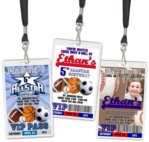 Baseball Football Soccer VIP Birthday Party Invitations | eBay