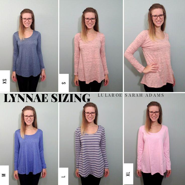 LuLaRoe Lynnae Size Comparison chart The Lynnae has long sleeves
