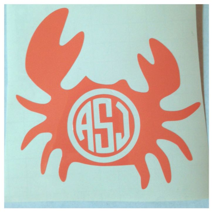 Monogrammed Crab Decal - Personalized Nautical Sticker - Cute Custom Decal for Car or Tablet - Beach Theme by MeowMeowHouseDesigns on Etsy https://www.etsy.com/listing/151971915/monogrammed-crab-decal-personalized