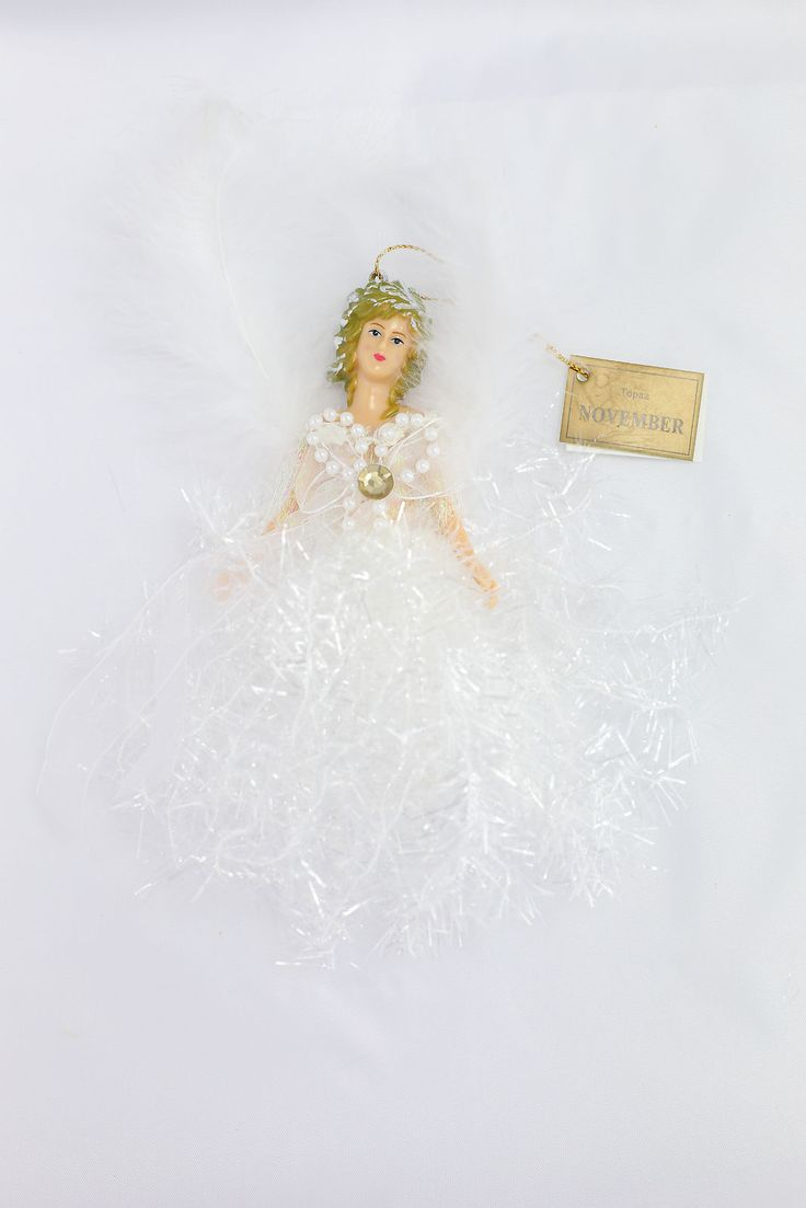 November Topaz Birthstone Angel Hanging Ornament