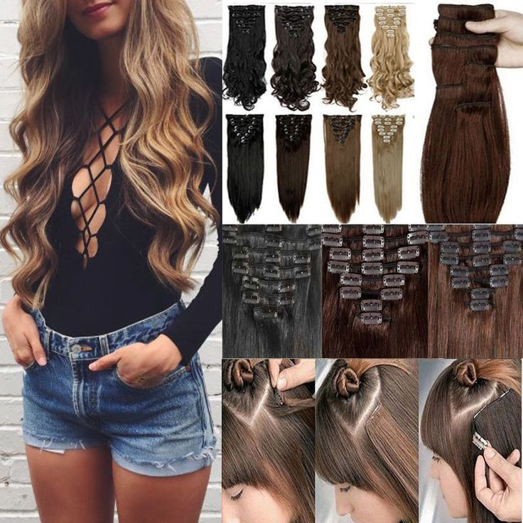 US STOCK Long 100% As Real Natural hair Extention 8pcs Curly Wavy Synthetic hair Clip in on Hair Extensions Full head 18Clips