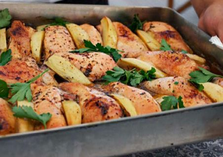Ugnsbakad kyckling med klyftpotatis | Oven baked chicken with potatoes