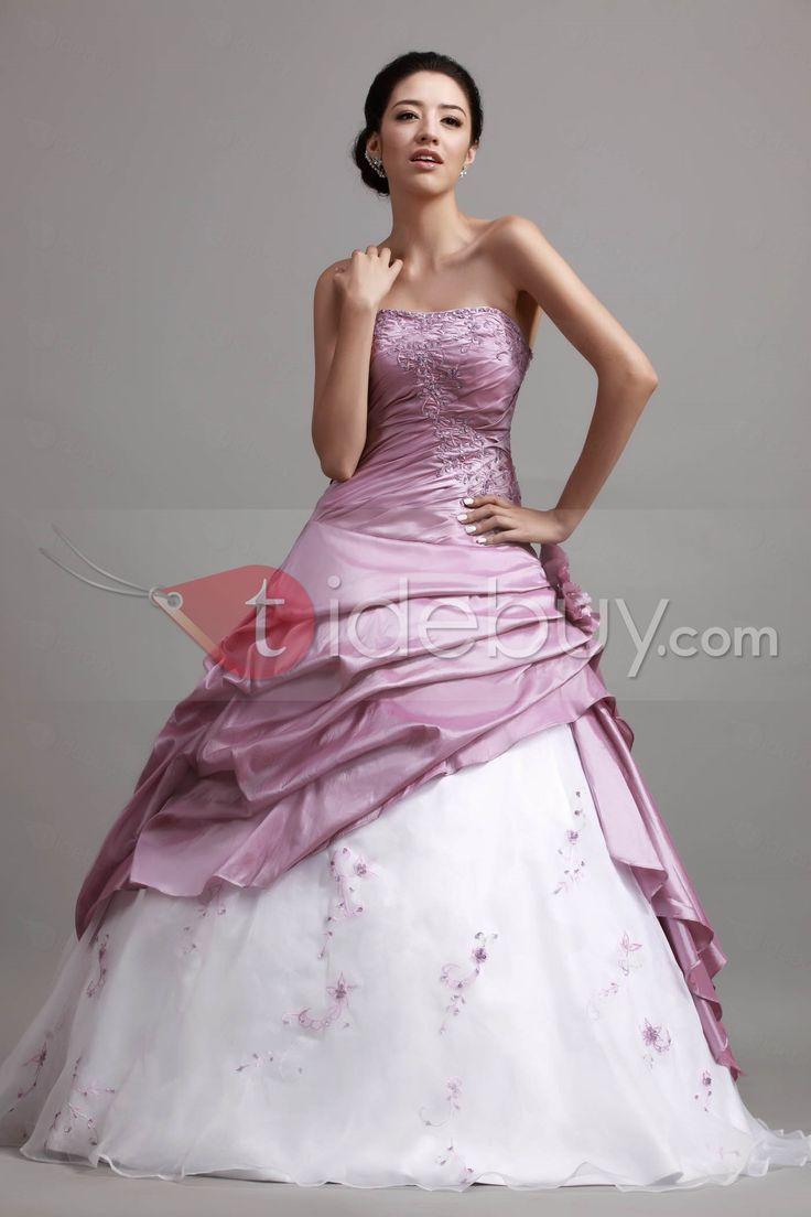Aラインストラップレス帝国ウエストレイン床長さのフリルボールガウン/成人式ドレス