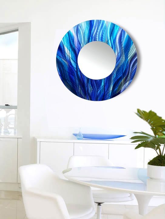 Contemporary Aqua Blue, Teal U0026 Purple Abstract Circle Wall Mirror, Large  Modern Metal Wall Art Decor, Hanging Art   Mirror 113 By Jon Allen