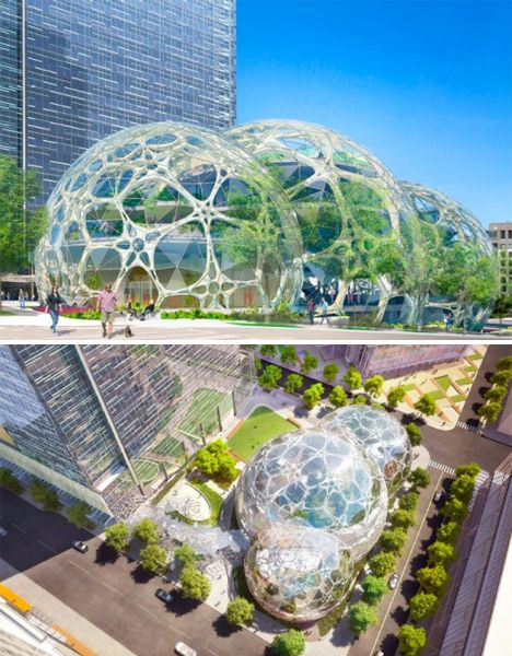 Green Architecture Biospheres. Amazon's new Seattle headquarters to be