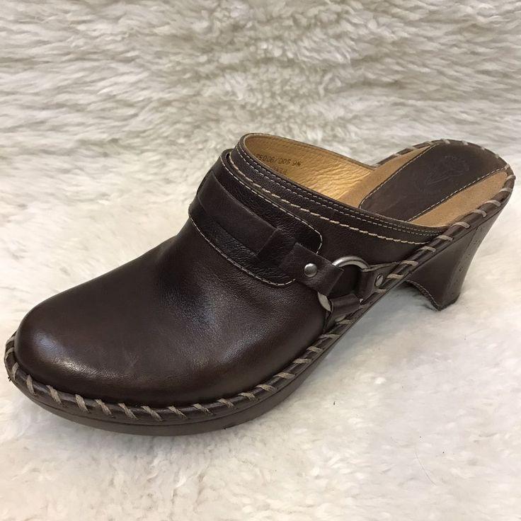 FRYE Womens 9 Brown Leather Clogs Shoes Heels Slip On Mule  | eBay
