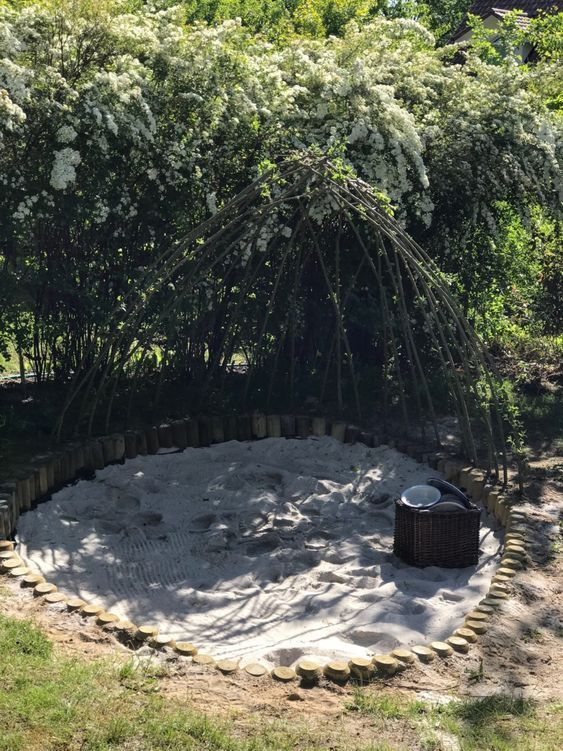 Bodennahe Natur Sandkiste Aus Palisaden Bauen Mit Weidendach Sandkasten Garten Sandkiste Garten Grundriss