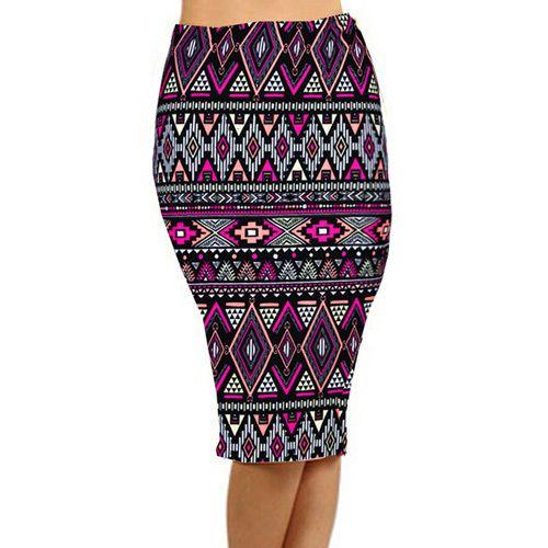2015 летом старинные мода юбка карандаш миди женщины колено   упругие высокая талия печать Saias Femininas D40 купить на AliExpress