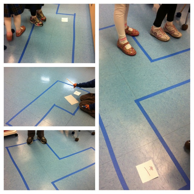 Finding Area - Use painter's tape to make shapes using classroom floor tiles. Students record the area by counting the number of squares inside the tape!