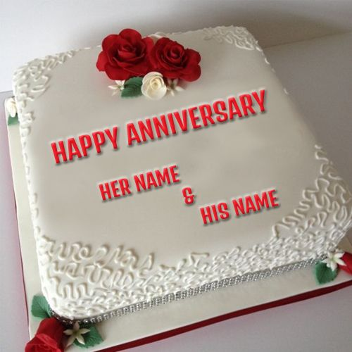 Write Your Couple Name On Anniversary Cake Picture Birthday Cakes
