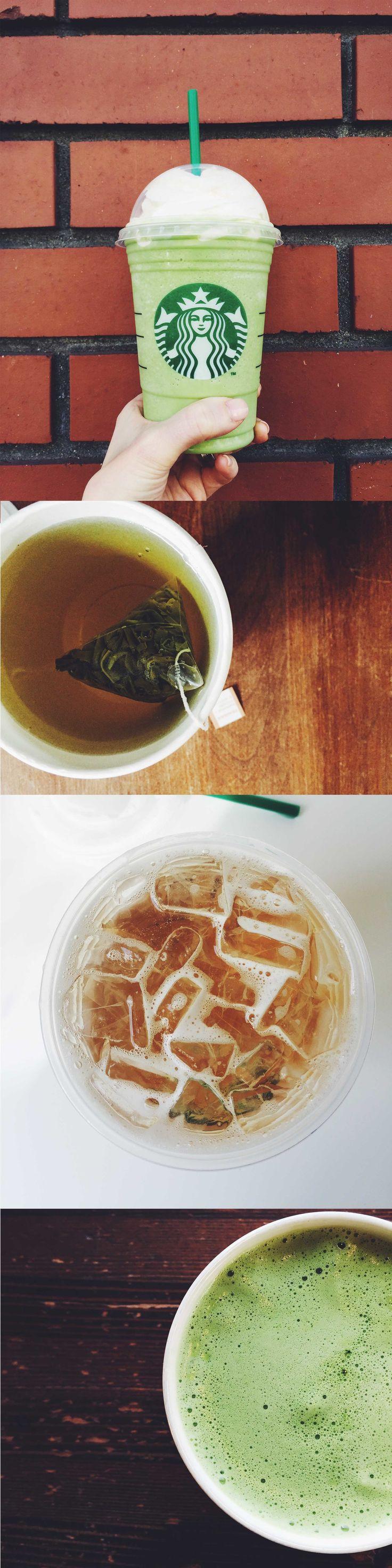 One tea. Four ways to enjoy it: Green Tea Frappuccino, hot green tea, iced green tea, or Green Tea Latte.