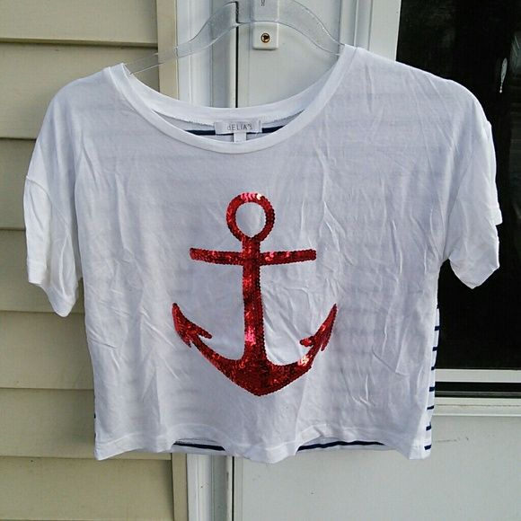 Delias Graphic Tee T Shirt Top Blouse 4th of July American T-shirt Top for 4th of July. Red sequins anchor and blue and white stripes on the back. New without tags. delias Tops Crop Tops