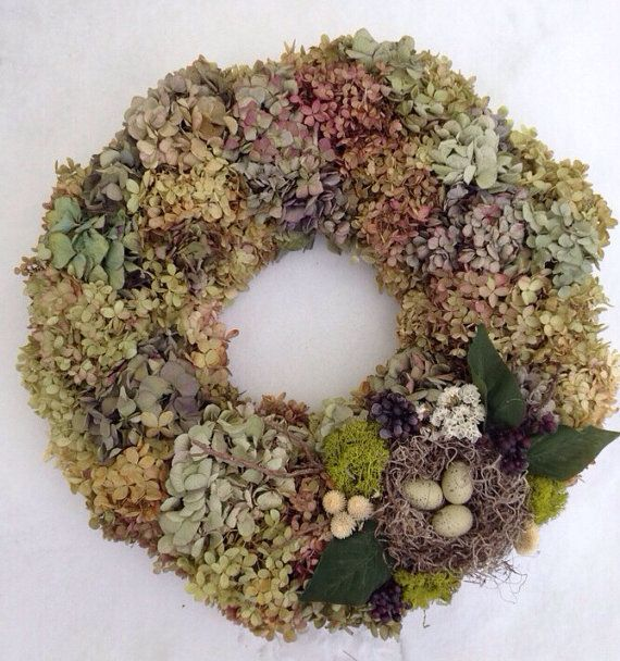 Hydrangea Wreath with Bird Nest by RebeccaWattsDesigns on Etsy, $58.00