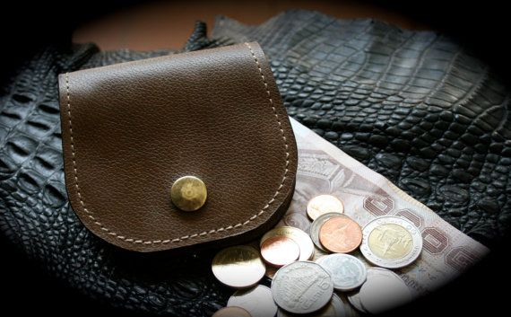 Handmade Leather Coin Purse with Snap Button Brown by Mygoth