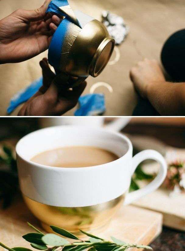 Bekijk 'Doe het zelf mokken met goudverf' op Woontrendz ♥ Dagelijks woontrends ontdekken en wooninspiratie opdoen!