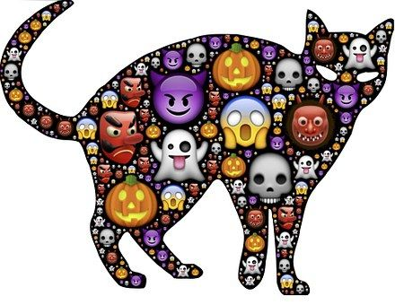 Cat, Halloween, Emoji, Scary