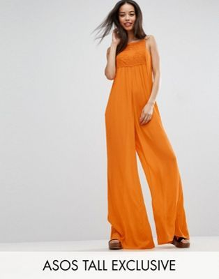 ASOS TALL Lace Panel Cheesecloth Wide Leg Jumpsuit