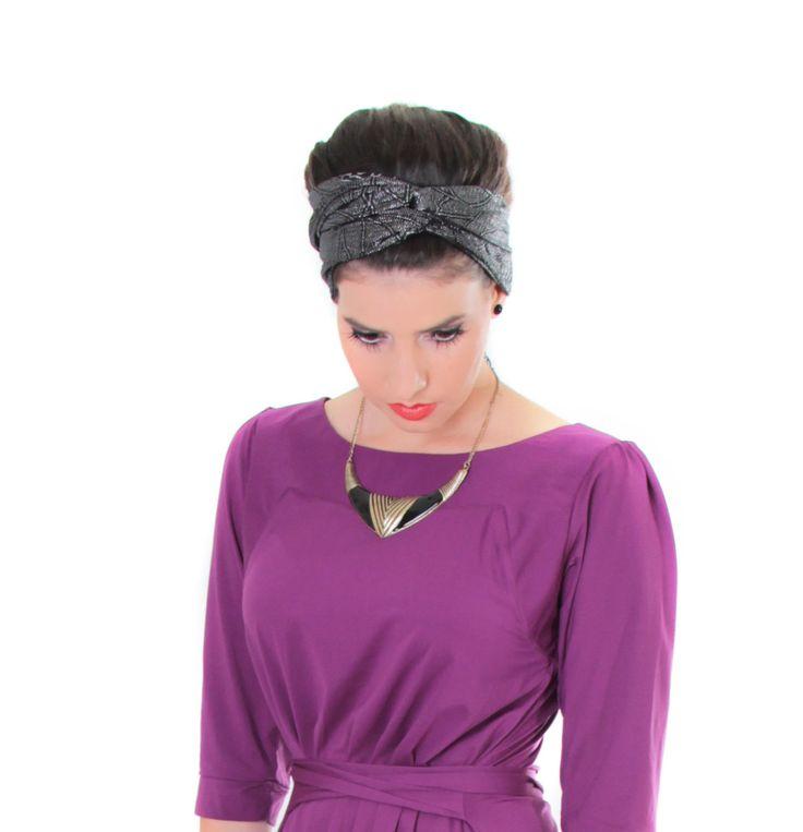 Winter sale - Black headband - Headband with silver print - Semi cover headband by TAMARLANDAU on Etsy