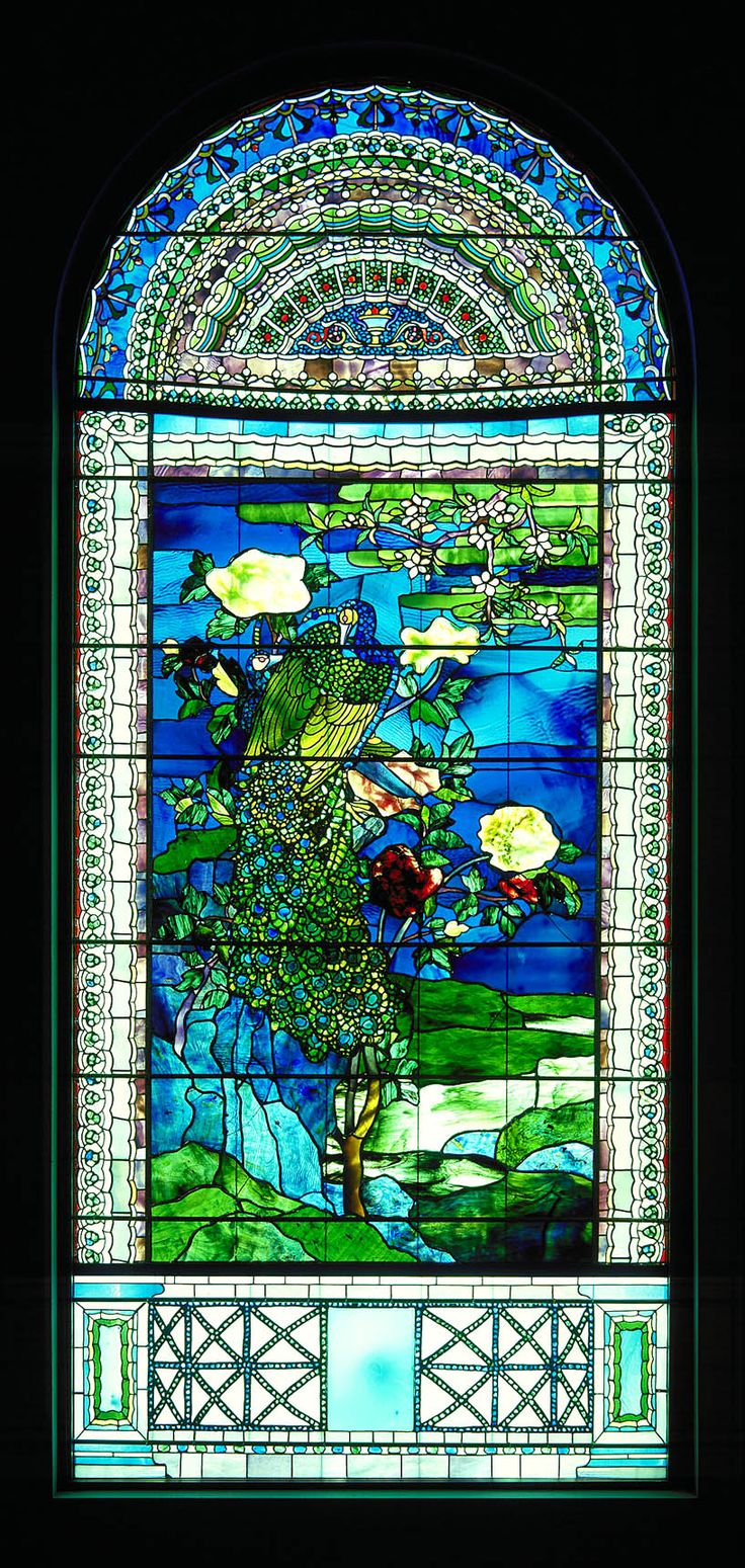 Peacocks and Peonies II, 1882 ~ by John La Farge (1835 -1910) -- stained glass window (Smithsonian American Art Museum)