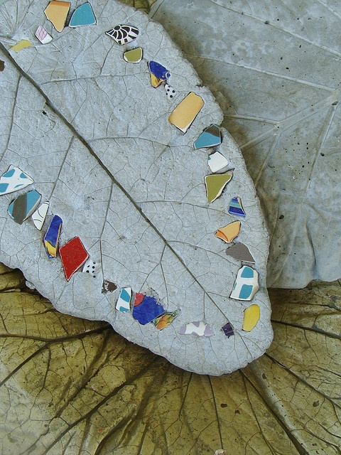 mosaic on concrete leaf