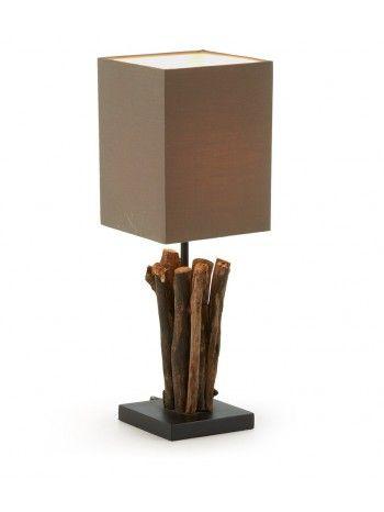 Lampada da tavolo, illuminazione in stile etnico con struttura di rami di legno naturale. Pezzi unici che si fondono perfettamente con il moderno design .