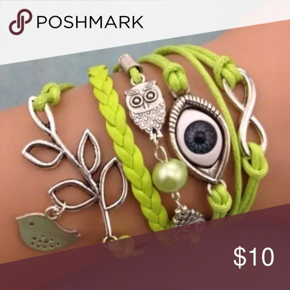 JUST IN 💋 EVIL EYE INFINITY BRACELET Multi strand bracelet made of leather cords. (All joined together). Lobster clasp.   PRICE FIRM UNLESS BUNDLED. BUNDLES GET 30% OFF. 👁‍🗨👁‍🗨 I OFFER 30% OFF BUNDLES. I CANNOT ACCEPT OFFERS ON BUNDLES. 30% OFF IS A BIG DISCOUNT AND THEN POSH TAKES ANOTHER 20%. Jewelry Bracelets