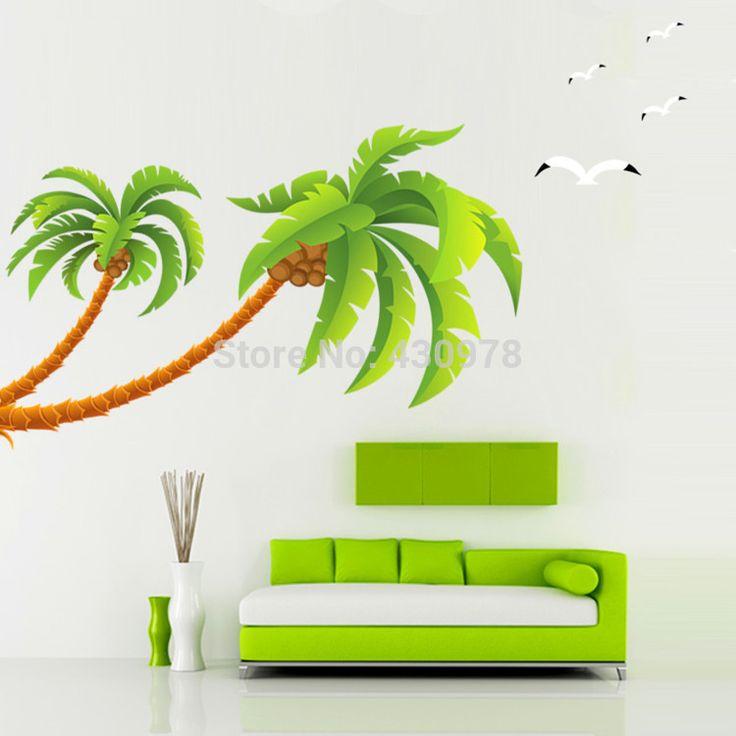 QZ1338 Бесплатная Доставка 1 Шт. АВ Стороны Большой Зеленый Кокосовая Пальма Пляж Летающий Белая Чайка ПВХ Стикер Стены Украшения Дома стикер