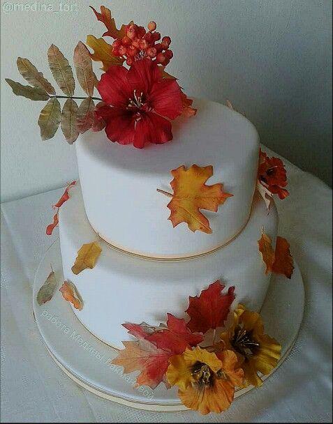 Осенний свадебный торт; в инстаграмме - @medina_tort