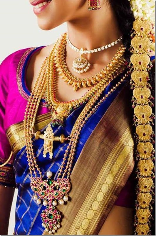 Traditional tamil wedding jewellery... I think very few countries are as culturally diverse than India! A good portion of what I've pinned so far with regards to gold-work, jewels, and inspirations for embroidery are from the northern part of the country. Really though if you want lots of gold-work, go south! Here's an example of a wedding set that has a few interesting patterns in it.
