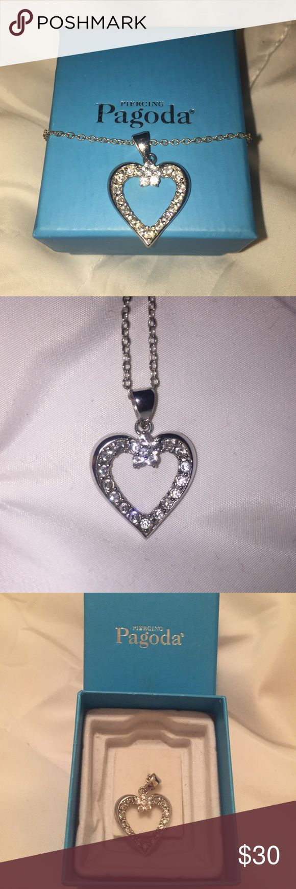 Piercing pagoda heart necklace Beautiful silver heart pendant necklace from piercing pagoda. Only worn a few times. Comes with original box. No stones missing. NO TRADES Piercing Pagoda Jewelry Necklaces