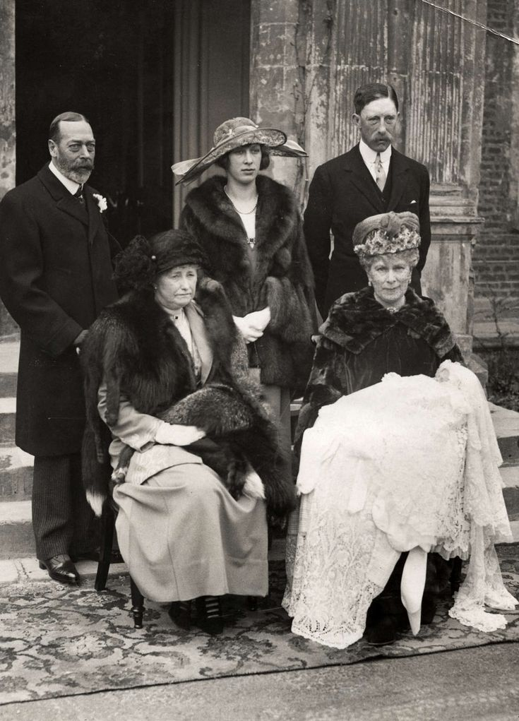 The christening of George Lascelles was attended by King George V and Queen Mary and this image was taken outside Goldsborough Hall in 1923.